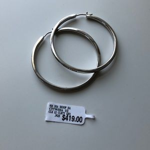 .925 Sterling Silver Diamond Hoop Earrings